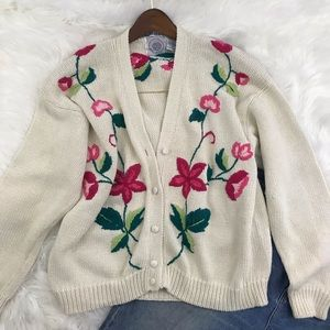 Oversized Thick Vintage Hand Embroidered Cardigan